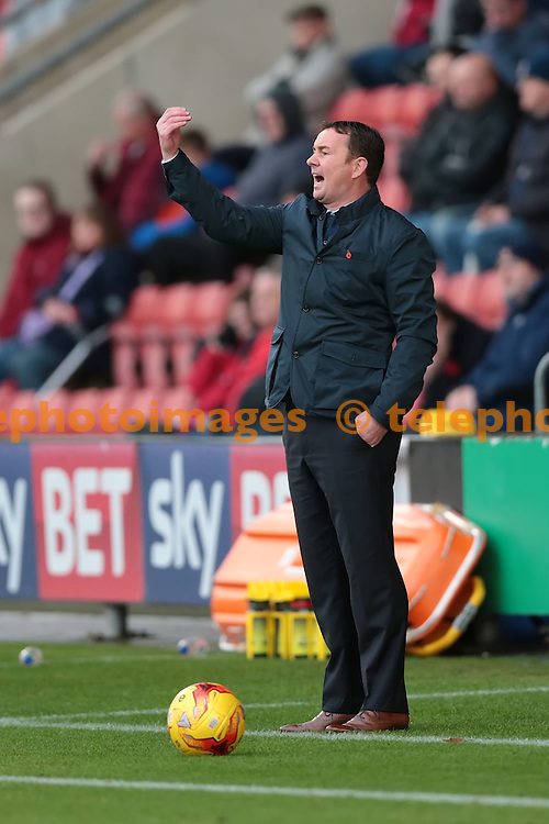 Plymouth Albion Manager Derek Adams giving out instructions during the Sky Bet League 2 match between Crewe Alexandra and Plymouth Argyle at Alexandra Stadium in Crewe. November 12, 2016.<br /> Nigel Pitts-Drake / Telephoto Images<br /> +44 7967 642437