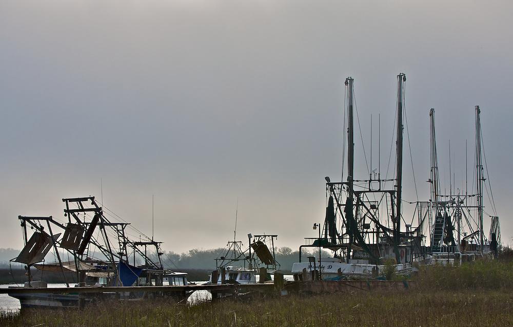 Shrimp Boats, Morning Fog, Cameron Parish (3/09)