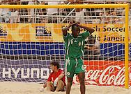Football-FIFA Beach Soccer World Cup 2006 - Group D-ARG_NGA - Opening match of the Beachsoccer World Cup 2006. Suleiman Usman celebrates his goal agaisnt Agentina- Rio de Janeiro - Brazil 02/11/2006<br />Mandatory credit: FIFA/ Marco Antonio Rezende.