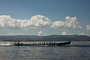 Boat with local people, Inle Lake, Myanmar. It is the second largest lake in Myanmar, is a freshwater lake located in the Nyaungshwe Town.<br /> Note: These images are not distributed or sold in Portugal