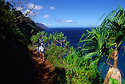 Hiking, Kalalau Trail, Napali Coast Kauai, Hawaii<br />