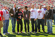 Ameer Abdullah (3rd from left) visits with Daniel Davie on a recruiting visit to the 2011 Spring Game.