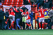 Goal 1-0 Charlton Athletic midfielder Karlan Ahearne-Grant (18) scores from the penalty spot and celebrates during the EFL Sky Bet League 1 match between Charlton Athletic and Accrington Stanley at The Valley, London, England on 19 January 2019.