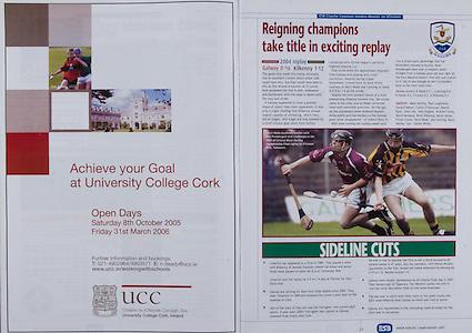 All Ireland Senior Hurling Championship - Final,.11.09.2005, 09.11.2005, 11th September 2005,.Minor Galway 3-12, Limerick 0-17,.Senior Cork 1-21, Galway 1-16,.11092005AISHCF,.UCC,