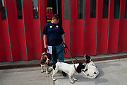 Firefighters strike from 12-4pm in a protest at threats to their pensions. Sophie, firefighter, on the picket line with her three Springer Spaniels. Kingsland Rd Hackney fire station, London, England, UK.