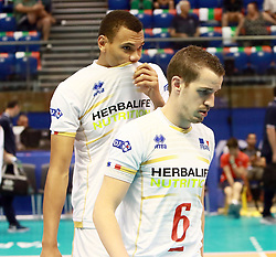 June 16, 2018 - Varna, Bulgaria - from left Stephen BOYER (France), Raphael CORRE (France), .mens Volleyball Nations League,week 4, Brazil vs Francel, Palace of culture and sport, Varna/Bulgaria, June 16, 2018, the fourth of 5 weekends of the preliminary lap in the new established mens Volleyball Nationas League takes place in Varna/Bulgaria. (Credit Image: © Wolfgang Fehrmann via ZUMA Wire)