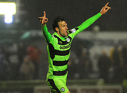 Christian Doidge of Forest Green Rovers celebrates his goal -Mandatory by-line: Nizaam Jones/JMP - 18/11/2017 - FOOTBALL - New Lawn Stadium - Nailsworth, England - Forest Green Rovers v Crewe Alexandre-Sky Bet League Two