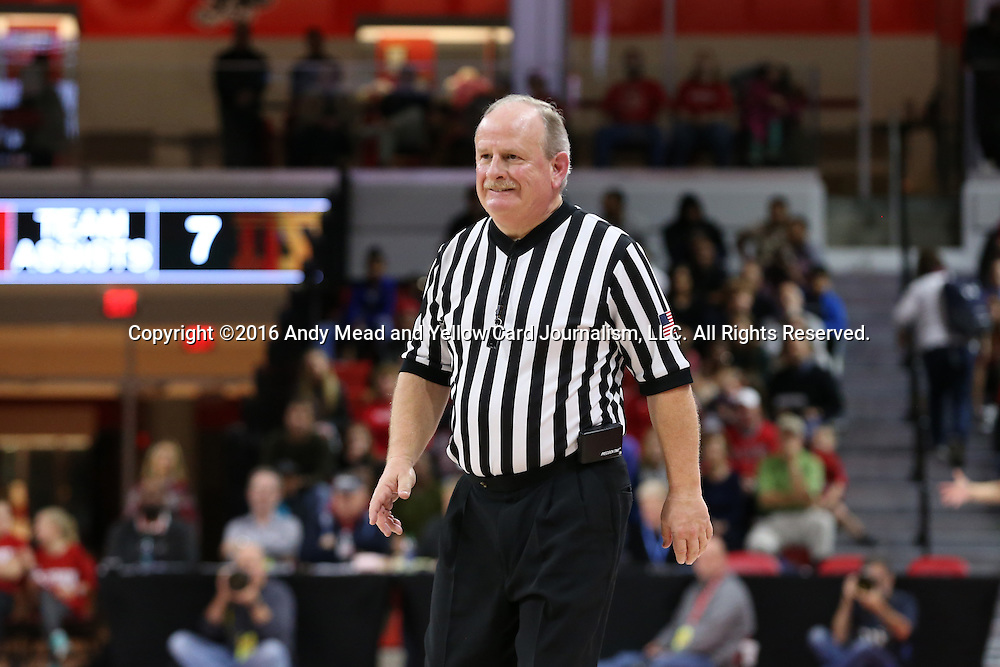 29 December 2016: Referee Lawson Newton. The North Carolina State University Wolfpack hosted the University of Notre Dame Fighting Irish at Reynolds Coliseum in Raleigh, North Carolina in a 2016-17 NCAA Division I Women's Basketball game. NC State won the game 70-62.