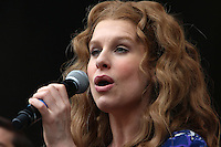 West End Live 2016; Trafalgar Square; London UK; 18-19 June 2016; Photo by Brett D. Cove; Beautiful: The Carole King Musical; Leo Ihenacho; Leo the Lion; Cassidy Janson