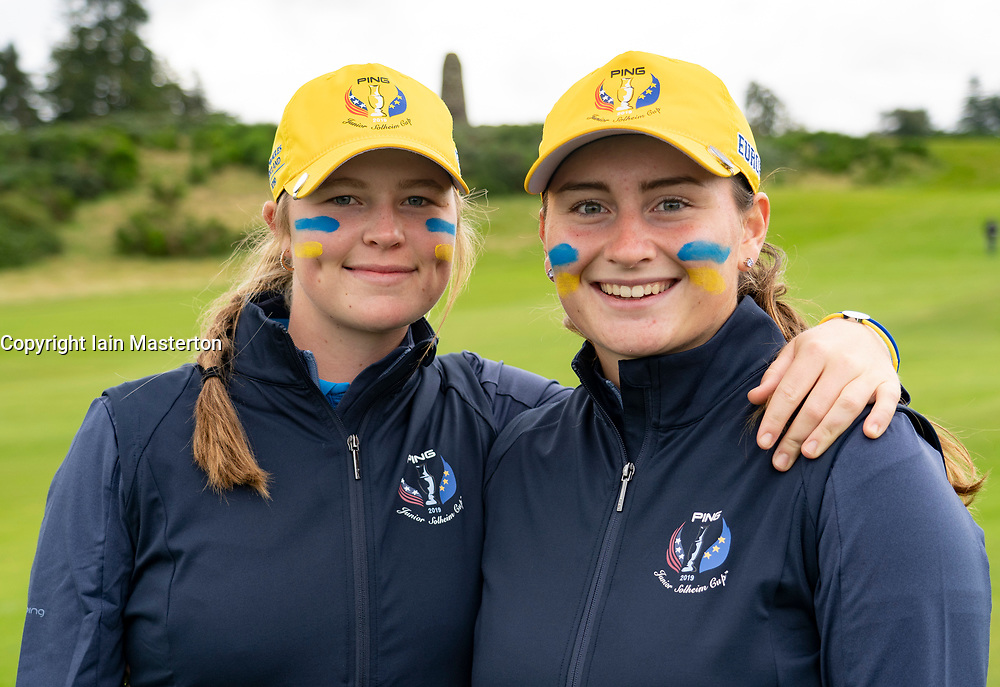 Auchterarder, Scotland, UK. 10 September 2019. Day one of the Junior Solheim Cup 2019 at the Centenary Course at Gleneagles. Tuesday Morning Foursomes. Pictured Mimi Rhodes (l) and Lily May Humphreys of Europe after winning 4&3. . Iain Masterton/Alamy Live News