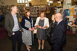 Pictured: Richard Lewis, Culture and Sport Convenor Edinburgh Council, Ms Hyslop , Pamela Tulloch, Chief Executive SLIC, Evelyn Kilmurray, Library and in formation manager and Gordon MacDonald, MSP chat at the announcement fo the additional funding.<br /> Culture Secretary Fiona Hyslop MSP visited Wester Hailes Library in Edinburgh today to meet primary-school pupils and Edinburgh City Council officials  to announce libraries support package<br /> <br /> Ger Harley   EEm 7 September 2016