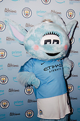 Manchester City mascot Moonbeam at the All or Nothing: Manchester City, at The Printworks in Manchester ahead of its release on Friday.
