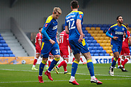 GOAL 1-0, AFC Wimbledon striker Joe Pigott (39) during the The FA Cup match between AFC Wimbledon and Crawley Town at Plough Lane, London, United Kingdom on 29 November 2020.