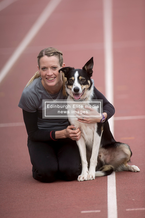 Pictured: Launch of Pound for Paws event for animal welfare charity Scottish SPCA, with Team GM athlete Eilidh Doyle with Bran. <br /> <br /> <br /> <br /> Michael Schofield | EEm date