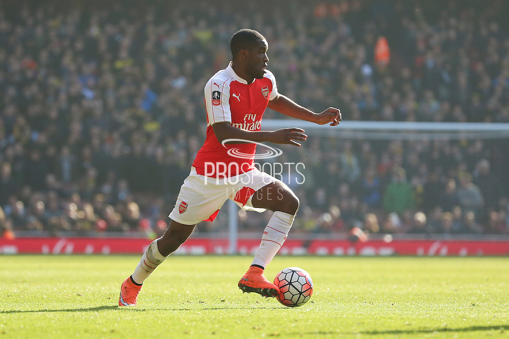 Arsenal forward, Joel Campbell (28) driving forward during the The FA Cup Quarter Final match between Arsenal and Watford at the Emirates Stadium, London, England on 13 March 2016. Photo by Matthew Redman.