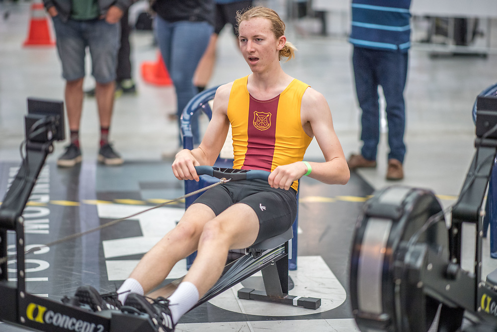 Archie Bruning MALE HEAVYWEIGHT U16 2K Race #5 09:30am<br /> <br /> <br /> www.rowingcelebration.com Competing on Concept 2 ergometers at the 2018 NZ Indoor Rowing Championships. Avanti Drome, Cambridge,  Saturday 24 November 2018 © Copyright photo Steve McArthur / @RowingCelebration