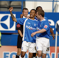 Photo: Jonathan Butler.<br />Luton Town v Birmingham City. Coca Cola Championship. 14/10/2006.<br />Dudley Campbell of Birmingham celebrates scoring in front of the away fans.
