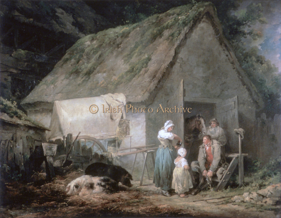 Morning: Higglers Preparing for Market', 1791. Oil on canvas. George Morland (1763-1804) English painter of animals and rustic scenes. Higglers were travelling market traders, often of poultry.  Stable Thatch Pig Wagon Family