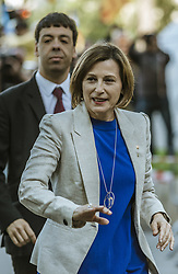 May 8, 2017 - Barcelona, Catalonia, Spain - President of the Catalan parliament CARME FORCADELL waves to supporting demonstrators as she arrives at the regional High Court surrounded by the press and hundreds of protestors to give evidence facing accusations of disobedience for allowing the parliament to vote on Catalan independence referendum (Credit Image: © Matthias Oesterle via ZUMA Wire)