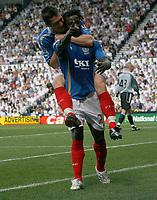 Photo: Steve Bond. <br />Derby County v Portsmouth. Barclays Premiership. 11/08/2007. Benjani Mwaruwari and David Nugent celebrate