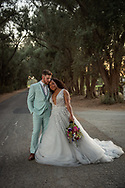 Beautiful bride and groom at sunset in the olive grove at the Maples in Woodland, CA