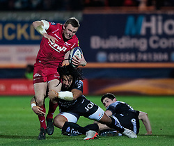 Scarlets' Hadleigh Parkes is tackled by Toulon's Ma'a Nonu<br /> <br /> Photographer Simon King/Replay Images<br /> <br /> European Rugby Champions Cup Round 6 - Scarlets v Toulon - Saturday 20th January 2018 - Parc Y Scarlets - Llanelli<br /> <br /> World Copyright © Replay Images . All rights reserved. info@replayimages.co.uk - http://replayimages.co.uk
