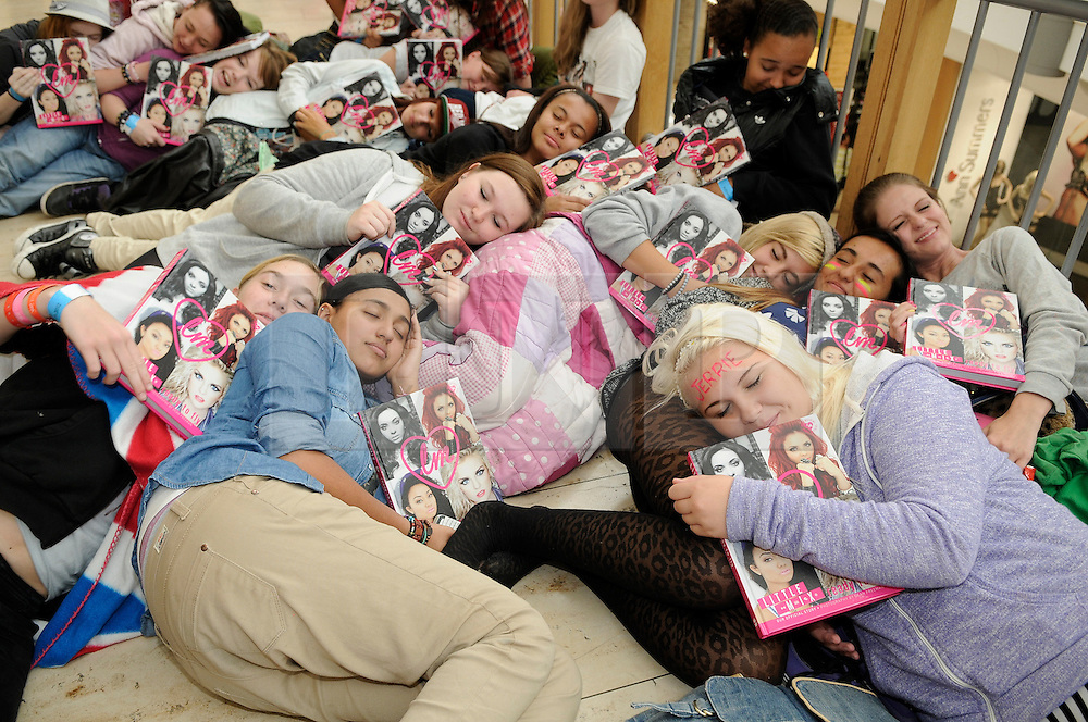 © Licensed to London News Pictures. 30/08/2012.Little Mix book signing at Bluewater shopping complex in Kent.. X-Factor stars  Jade Thirlwall,Perrie Edwards,Jesly Nelson,Leigh-Anne Pinnock..Fans slept over the night before in Bluewater..Photo credit : Grant Falvey/LNP