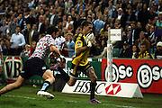 Cory Jane beats Tom Carter<br /> Super 14 rugby union match, Waratahs vs Hurricanes, Sydney, Australia. <br /> Saturday 14 May 2010. Photo: Paul Seiser/PHOTOSPORT