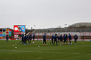 Wimbledon players warming up during the EFL Sky Bet League 1 match between Accrington Stanley and AFC Wimbledon at the Fraser Eagle Stadium, Accrington, England on 1 February 2020.
