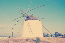 View of traditional windmill, Vejer de la Frontera, Andalusia, Spain