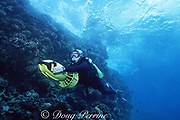 diver uses underwater scooter to assist on a shore dive at Black Rock, Kaanapali, West Maui, Hawaii, USA MR 293