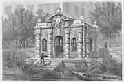 Buckingham Water Gate, Strand, engraving 'Metropolitan Improvements, or London in the Nineteenth Century' London, England, UK 1828 , drawn by Thomas H Shepherd