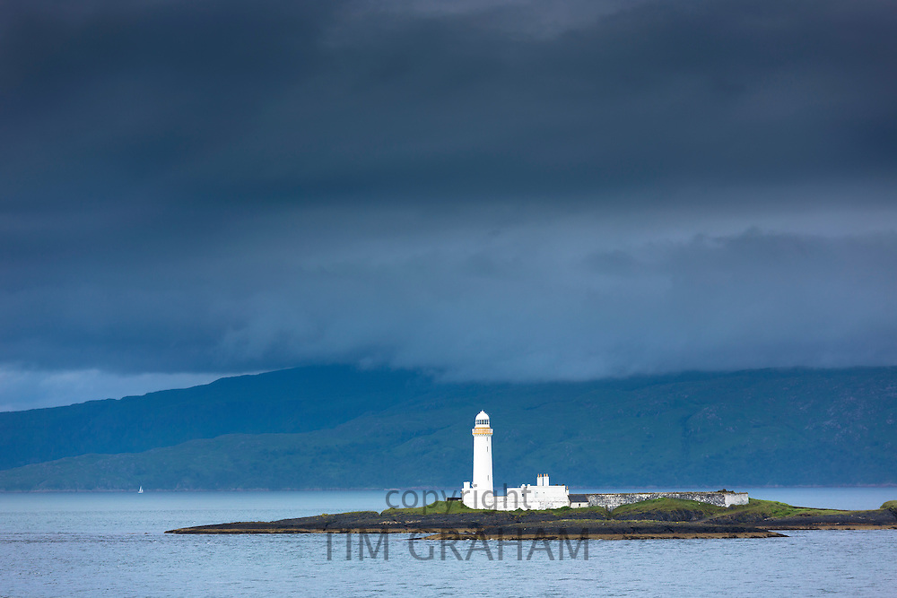 Lighthouse in Sound of Mull, Hebridean sea off Oban on the West Coast of Scotland