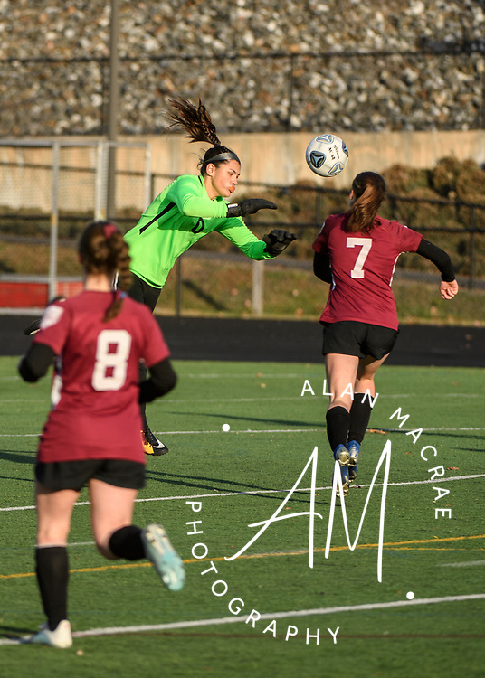 Hanover goalie Isabella Bardalas leaps to capture the ball during the NHIAA Division II soccer championship in Manchester on Sunday, November 10, 2019.  (Alan MacRae/Valley News)