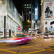 Traffic at night in Central, Hong Kong