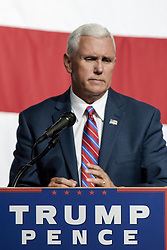 August 8, 2016 - Council Bluffs, Iowa, U.S - Republican Vice Presidential Candidiate Governor Mike Pence addresses a rally in the Mid America convention center in Council Bluffis Iowa today (Credit Image: © Mark Reinstein via ZUMA Wire)