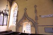 Elaborate stone carved canopy, Church of All Saints, Ashbocking, Suffolk, England, UK