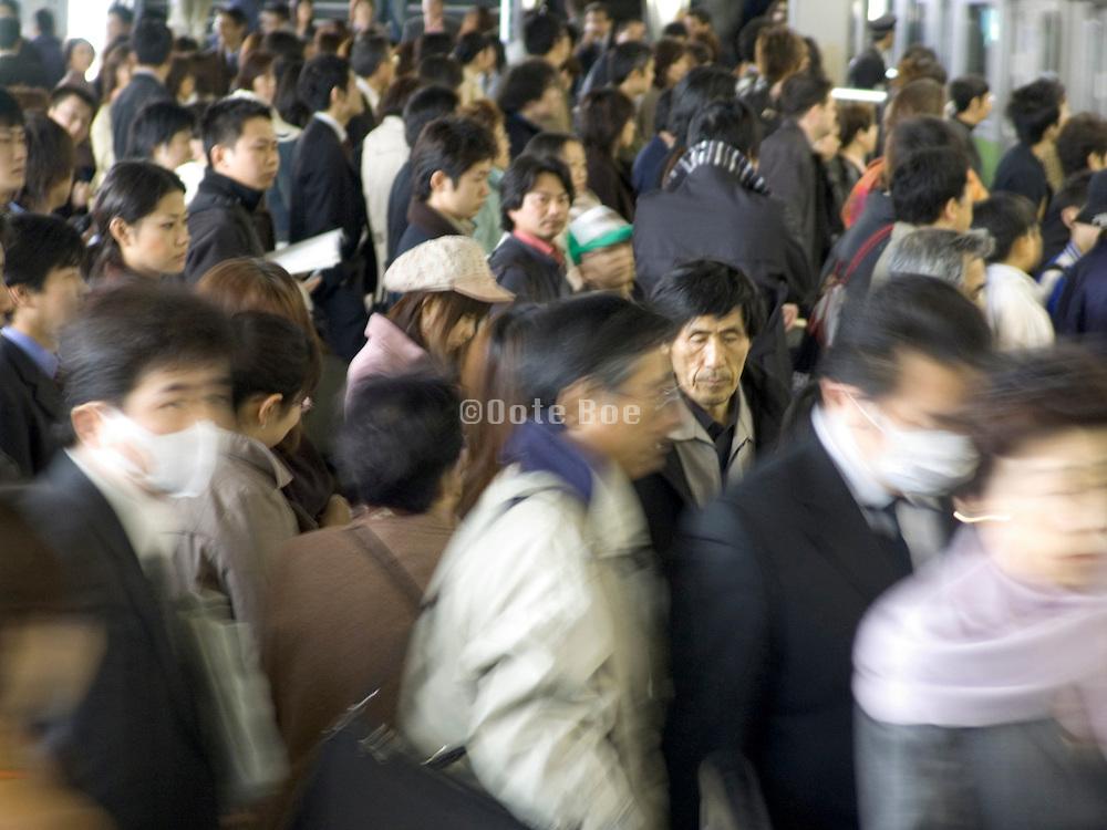 rush hour commuters Tokyo Japan