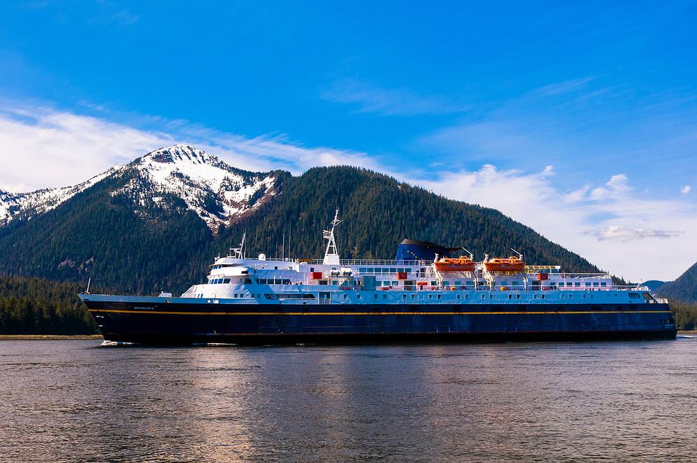 Alaska Ferry MV Matanuska (Alaska Marine Highway), Wrangell Narrows on the Inside Passage, Petersburg, Southeast Alaska USA