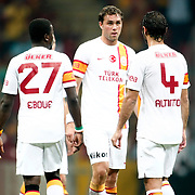 Galatasaray's (L-R) Emmanuel Eboue, Johan Elmander, Hamit Altintop and ACF Fiorentina's during their friendly soccer match Galatasaray between ACF Fiorentina at the TT Arena in istanbul Turkey on Wednesday 08 August 2012. Photo by TURKPIX