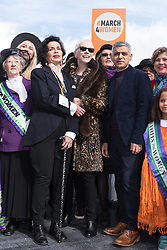 © Licensed to London News Pictures. 05/03/2017. Bianca Jagger, Annie Lennox and London Mayor Sadiq Khan take part in a rally raising awareness of women and girls in third world countries who spend days walking for water. March also marks CARE's annual celebration for International Women's Day. London, UK. Photo credit: Ray Tang/LNP