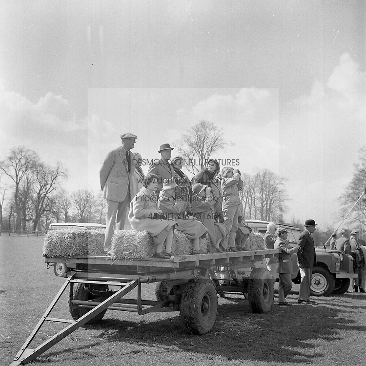 HM The Queen Elizabeth II with the 10th Duke of Beaufort and Earl Mountbatten, The Queen Mother at the Badminton Horse Trials, Gloucestershire on 13th April 1962