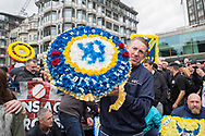 Chelsea Football Club wreath during the Football Lads Alliance march between Park Lane and Westminster Bridge, London on 7 October 2017. Photo by Phil Duncan.