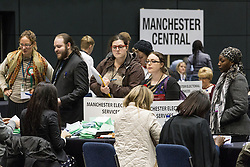 © Licensed to London News Pictures . 15/11/2012 . Manchester , UK . Observing the count for the Manchester Central by-election. By elections in Manchester Central and Ardwick and Greater Manchester Police and Crime Commissioner ( PCC ) Election counts at Manchester Central Convention Centre . Photo credit : Joel Goodman/LNP