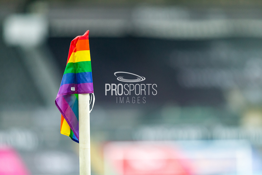 Equality for everyone. A Corner post flies the Pride Flag at the EFL Sky Bet Championship match between Swansea City and Luton Town at the Liberty Stadium, Swansea, Wales on 5 December 2020.