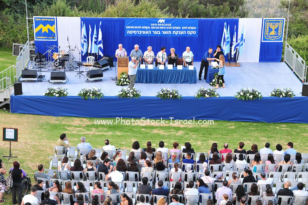 Israel, Haifa, The alumni and faculty members of the Haifa university during the graduation ceremony. June 2010
