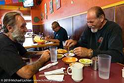 Keith Ball and Micah McCloskey at a Mexican restaurant in Wilmington, CA, USA. Monday, June 24, 2019. Photography ©2019 Michael Lichter.