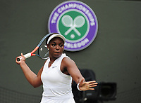 Tennis - 2019 Wimbledon Championships - Week One, Saturday (Day Six)<br /> <br /> Womens singles, 4th Round <br /> Sloane Stephens (USA) v Johanna Konta (GBR)<br /> <br /> Sloane Stephens on Court 1<br /> <br /> COLORSPORT/ANDREW COWIE