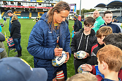 Anton Bresler of Worcester Warriors signing a ball for a fan after the game - Mandatory by-line: Craig Thomas/JMP - 13/04/2019 - RUGBY - Sixways Stadium - Worcester, England - Worcester Warriors v Sale Sharks - Gallagher Premiership Rugby