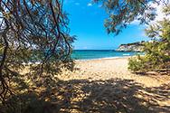 Pirgaki, Paros, Greece - July 2021: Lolantonis Beach
